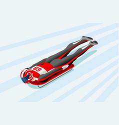 Skeleton sled race winter sports vector