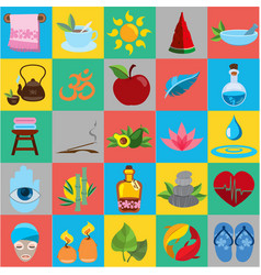 spa flat icons healthy lifestyle wellness beauty vector image