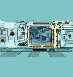 Space ship corridor science fiction vector