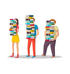 Student characters with stacks books vector