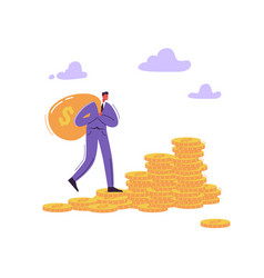 successful businessman character with money bag vector image