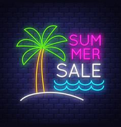 summer sale banner neon sign lettering vector image
