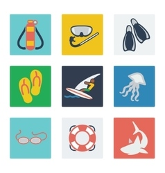 Summer vacation flat icons set vector
