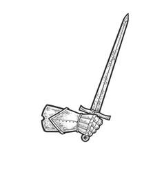 Sword in hand knight sketch vector