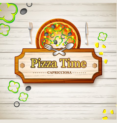 Tasty italian pizza capricciosa background vector