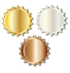 three bright metal bottle caps vector image