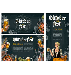 Three poster to oktoberfest festival vintage vector