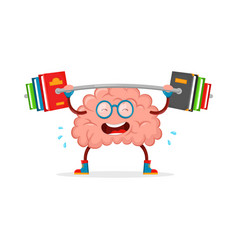Train your brain brain cartoon flat vector