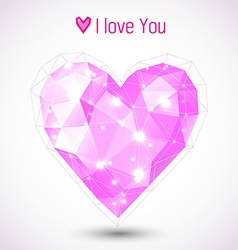 Triangle pink heart vector image