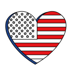 United statae of america flag with heart shape vector