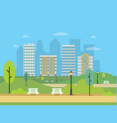 urban landscape with various buildings and green vector image