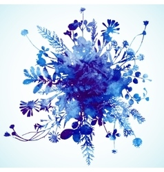 Watercolor winter leaves background vector
