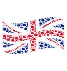 Waving uk flag mosaic of boom explosion items vector