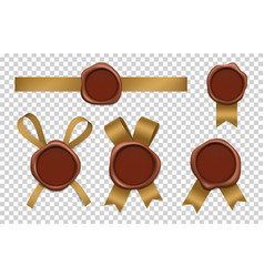 wax stamp and gold ribbons sealed brown rubber vector image