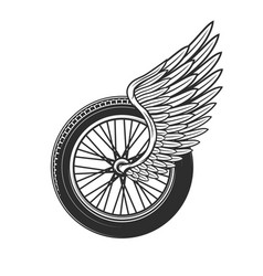 Wheel with wing racing symbol or tattoo icon vector