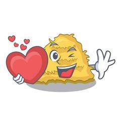 With heart hay bale mascot cartoon vector