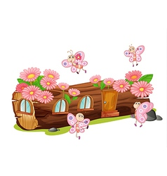 Wooden flower house vector image