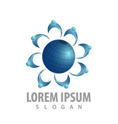 world population logo concept design symbol vector image