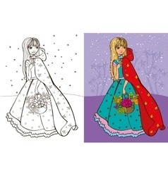 Colouring Book Of Girl In Red Coat vector image vector image