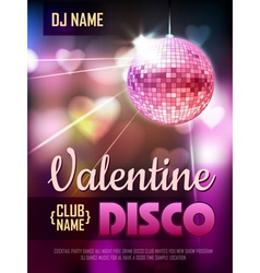 Disco Valentine background Disco poster vector image