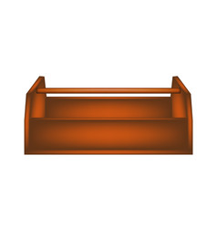 Empty wooden toolbox in dark brown design vector