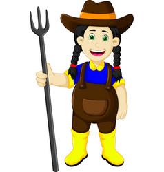 funny female farmer cartoon holding rake vector image