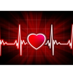 Heart beating monitor vector image vector image