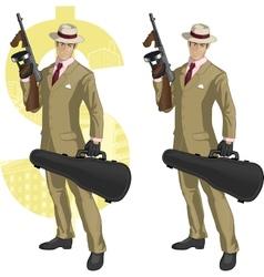 Hispanic mafioso with Tommy-gun cartoon vector image vector image