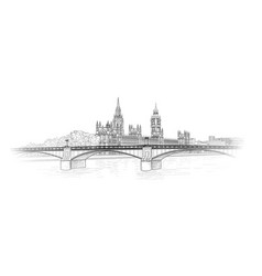 london city skyline with westminster palace and vector image
