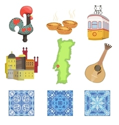 Portuguese National Symbols Set Of Objects vector image