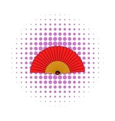 Spanish fan icon comics style vector image vector image