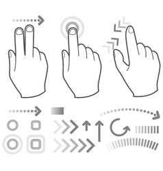 Touch screen gesture hand signs vector image vector image