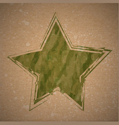 background with grunge camouflage star vector image vector image