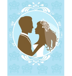 Bride and groom in frame vector image vector image