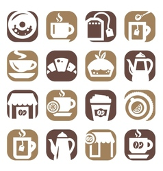 color coffee and tea icons vector image vector image