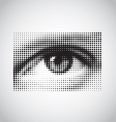 human eye black and white halftone vector image