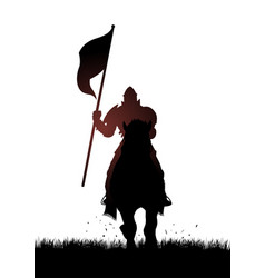 medieval knight on horse carrying a flag vector image