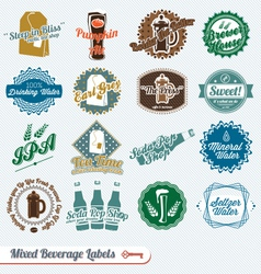 Mixed Collection of Beverages Labels vector image