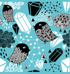 Seamless pattern with strange birds and design vector