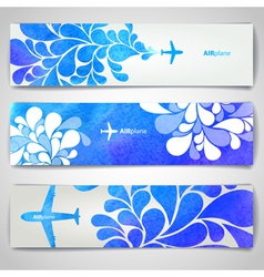 Set of watercolor Airplane artistic banners vector image