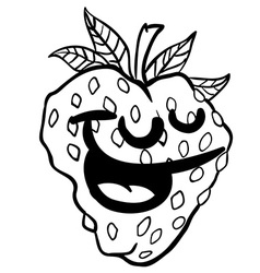 black and white strawberry smile vector image