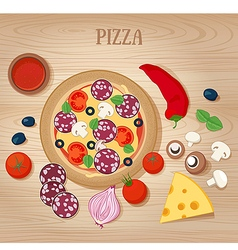 Pizza and Ingredients on Wooden Background vector image vector image