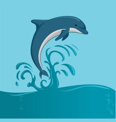 the dolphin jumping vector image