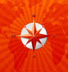 compass on world map vector image