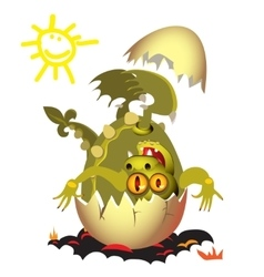 Little Dragon which is born from an egg vector image