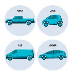 pickup truck microcar van road vehicle minivan vector image vector image