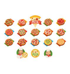 pizza sett popular varieties of pizzas vector image