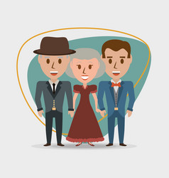 retro family grandparents with their son vector image vector image
