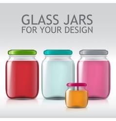 template of glass jars Bottle juice jam liquids vector image
