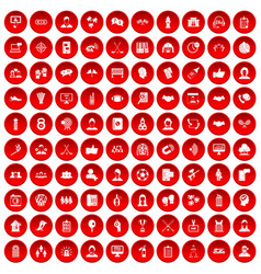 100 team icons set red vector